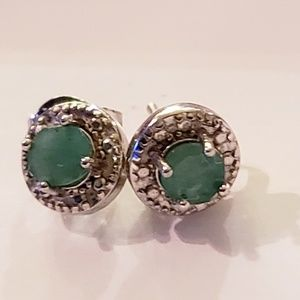 Earrings - emerald and diamonds in silver